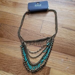 Bronze Gold & Turquoise Blue Crystals Necklace